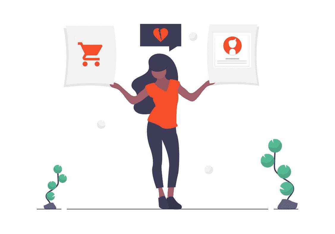 Une femme qui tient un panneau shopping, un panneau coeur brisé et unu panneau image